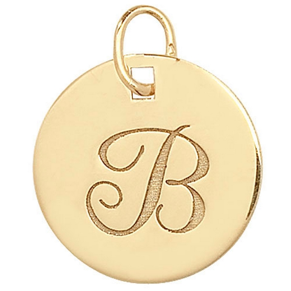 Initial B Gold Round Pendant