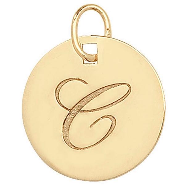 Initial C Gold Round Pendant