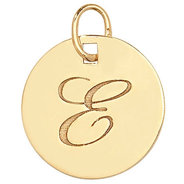 Initial E Gold Round Pendant