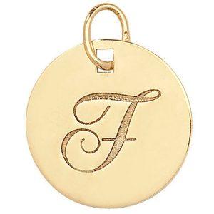 Initial F Gold Round Pendant