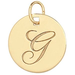 Initial G Gold Round Pendant
