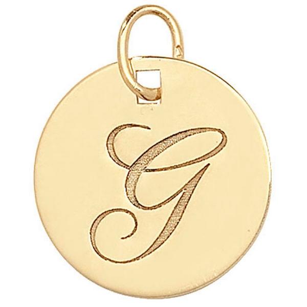 Initial G Gold Round Pendant