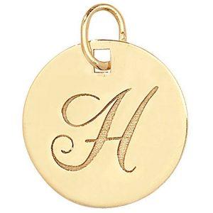 Initial H Gold Round Pendant