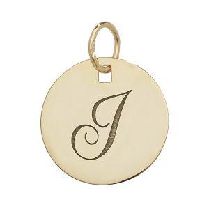 Initial I Gold Round Pendant