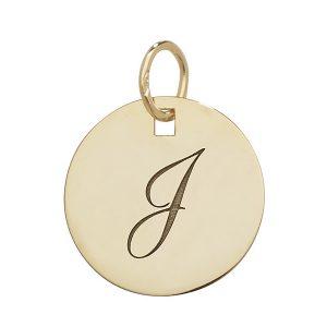 Initial J Gold Round Pendant