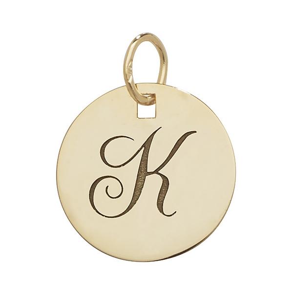 Initial K Gold Round Pendant