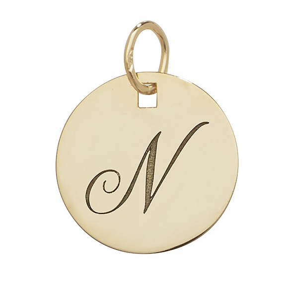 Initial N Gold Round Pendant