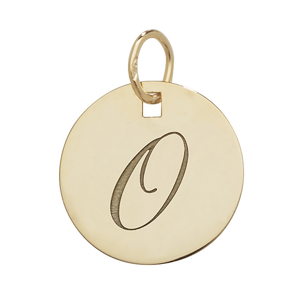 Initial O Gold Round Pendant