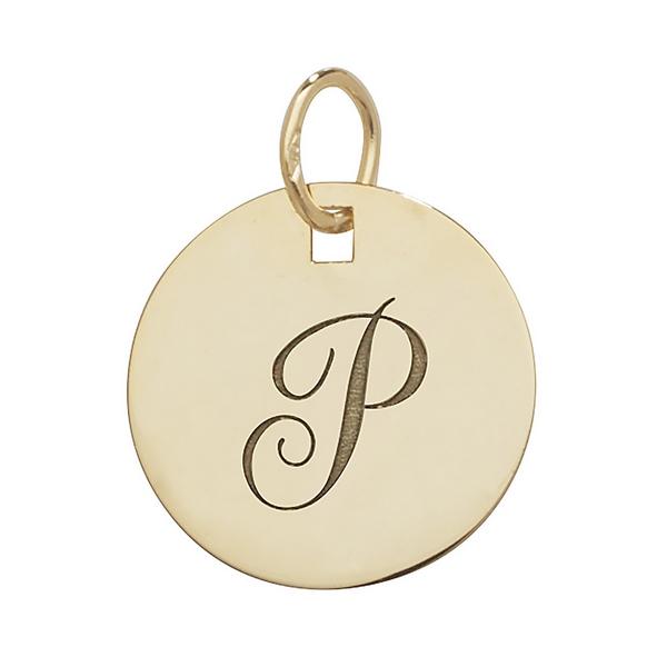 Initial P Gold Round Pendant