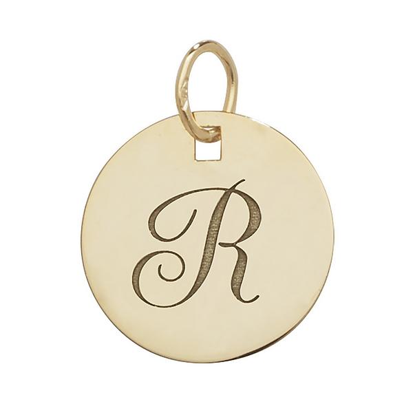 Initial R Gold Round Pendant