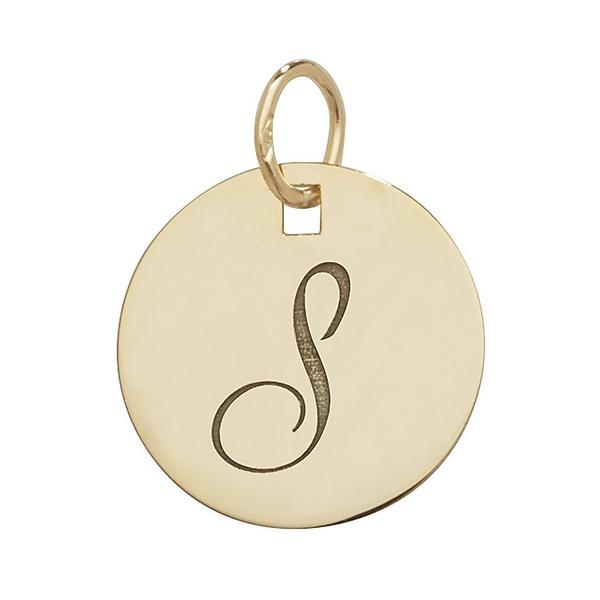 Initial S Gold Round Pendant