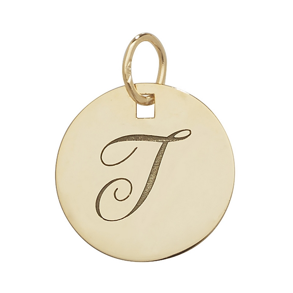 Initial T Gold Round Pendant