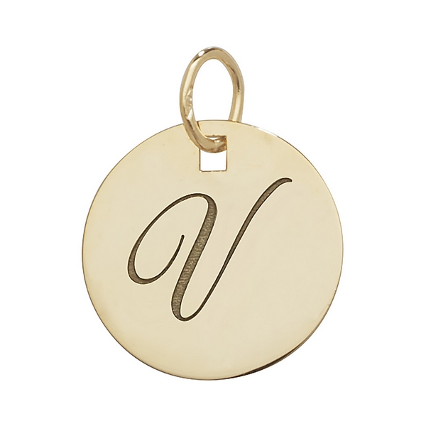 Initial V Gold Round Pendant 1