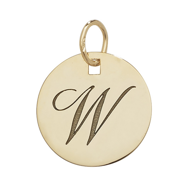 Initial W Gold Round Pendant