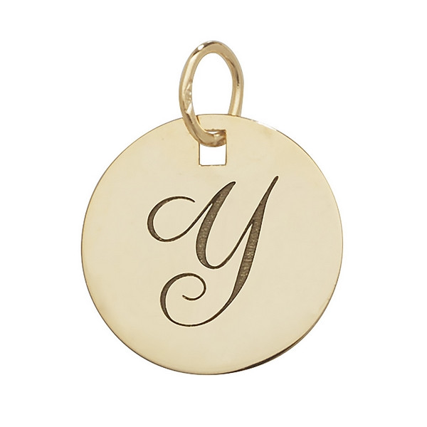 Initial Y Gold Round Pendant 1