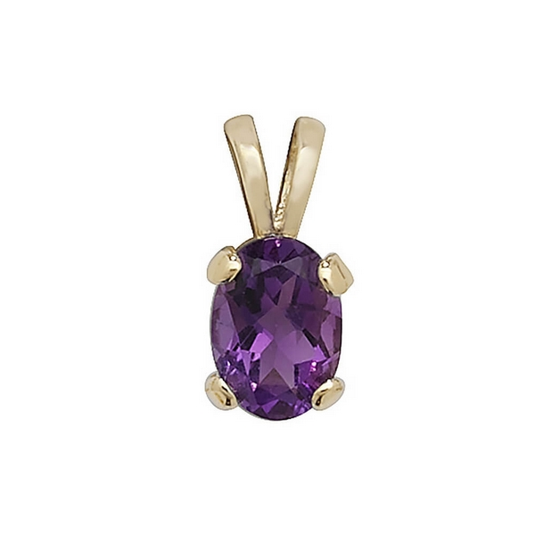 Claw Set Amethyst Pendant in 9ct Yellow Gold