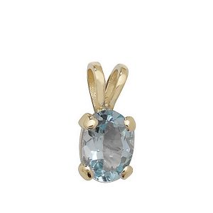 Claw Set Blue Topaz Pendant in 9ct Yellow Gold