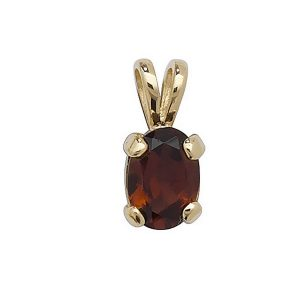 Claw Set Garnet Pendant in 9ct Yellow Gold