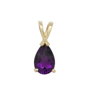 Claw Set Pear Shaped Amethyst Pendant in 9ct Yellow Gold