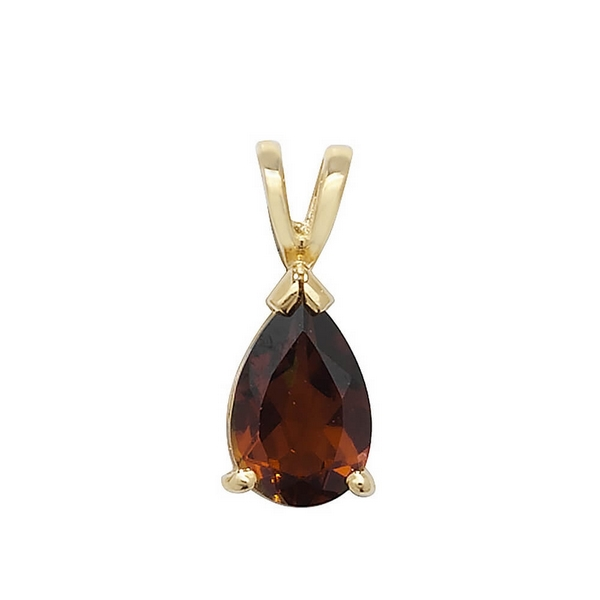 Claw Set Pear Shaped Garnet Pendant in 9ct Yellow Gold