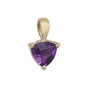 Claw Set Trillion Cut Amethyst Pendant in 9ct Yellow Gold