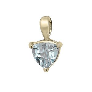 Claw Set Trillion Cut Blue Topaz Pendant in 9ct Yellow Gold