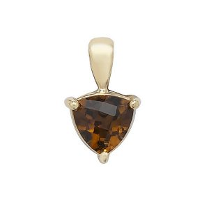 Claw Set Trillion Cut Garnet Pendant in 9ct Yellow Gold