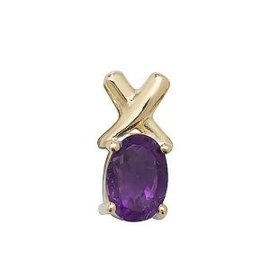 Oval Cut Prong Set Amethyst Pendant with Cross Motif in 9ct Yellow Gold