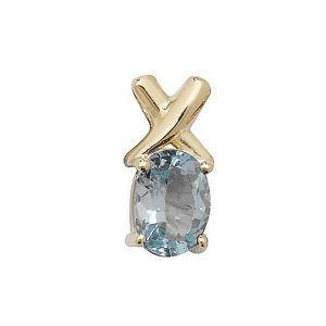 Oval Cut Prong Set Blue Topaz Pendant with Cross Motif in 9ct Yellow Gold