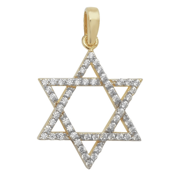 Cubic Zirconia Decorated Star of David Pendant in Yellow Gold
