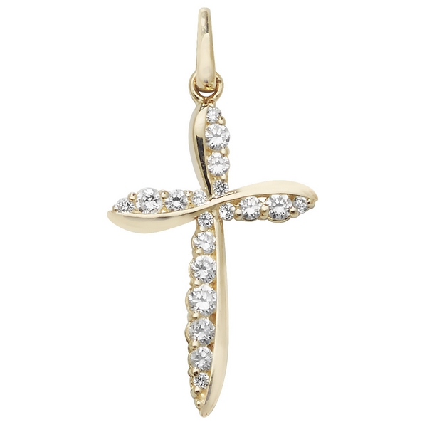 Contemporary Designed Cubic Zirconia Embellished Gold Cross Pendant
