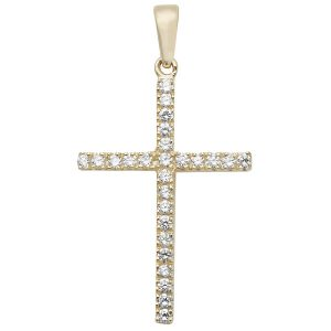 Cubic Zirconia Gold Cross Pendant
