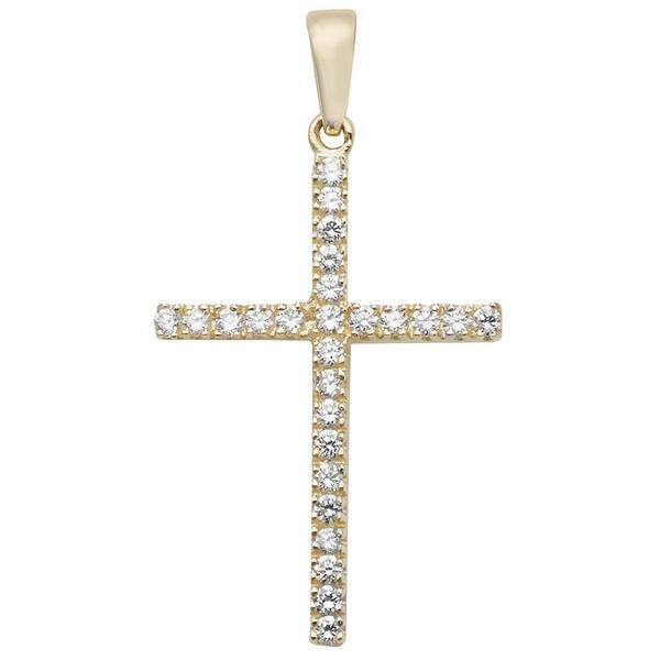 Cubic Zirconia Gold Cross Pendant