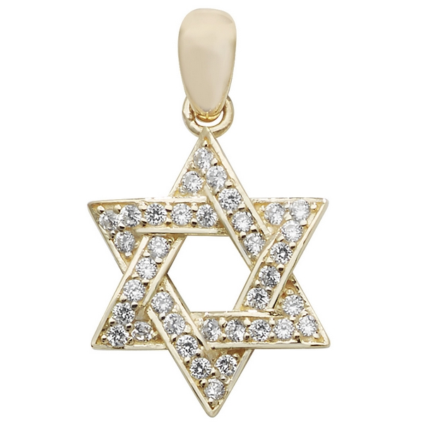 Cubic Zirconia Decorated Star of David Pendant in Yellow Gold 1