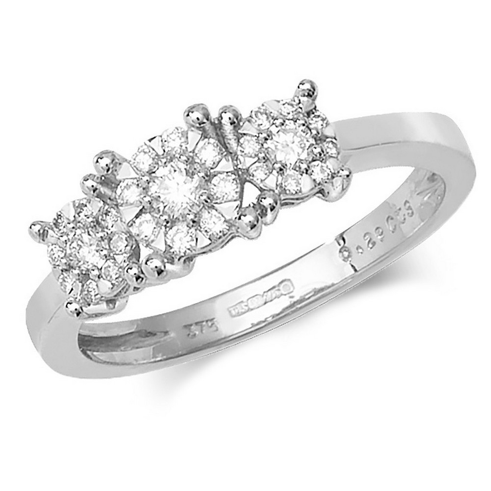 Trilogy Style Diamond Ring in 9ct White Gold (0.29ct)