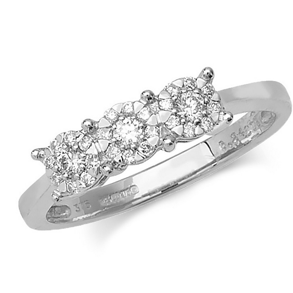 Trilogy Style Diamond Ring in 9ct White Gold (0.24ct)