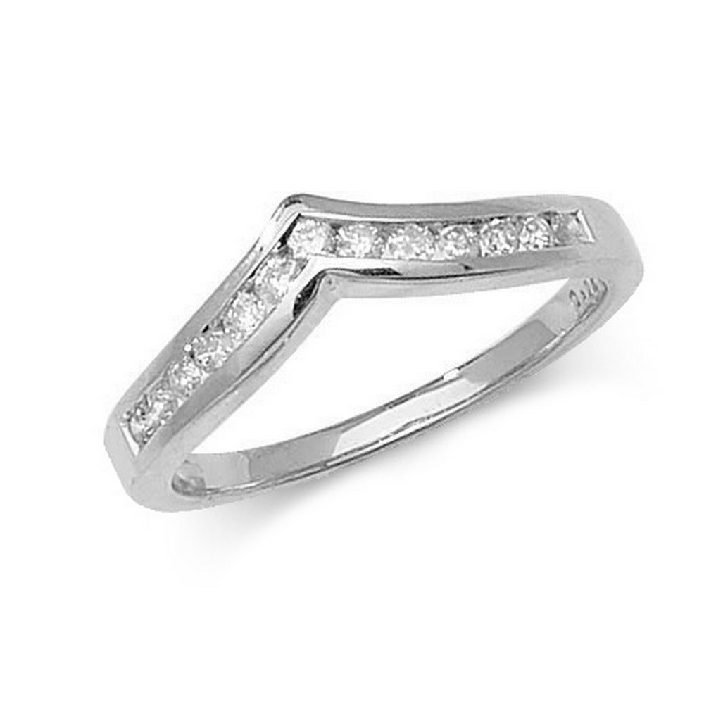 Channel Set Wishbone Style Ladies Diamond Ring in 9ct White Gold (0.25ct)