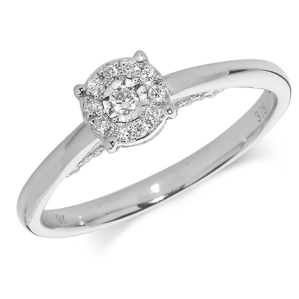 Diamond Cluster Ring in 9ct White Gold (0.17ct)