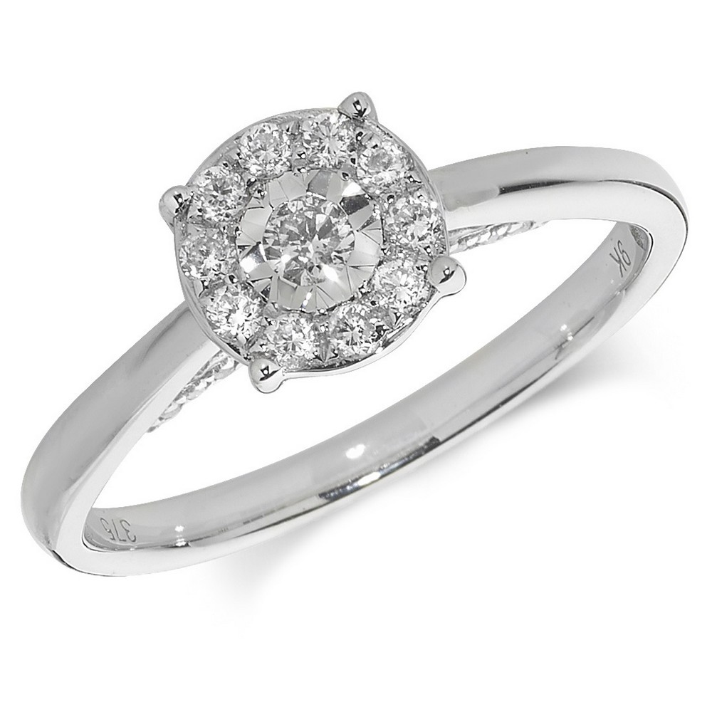 Diamond Cluster Ring in 9ct White Gold (0.28ct)