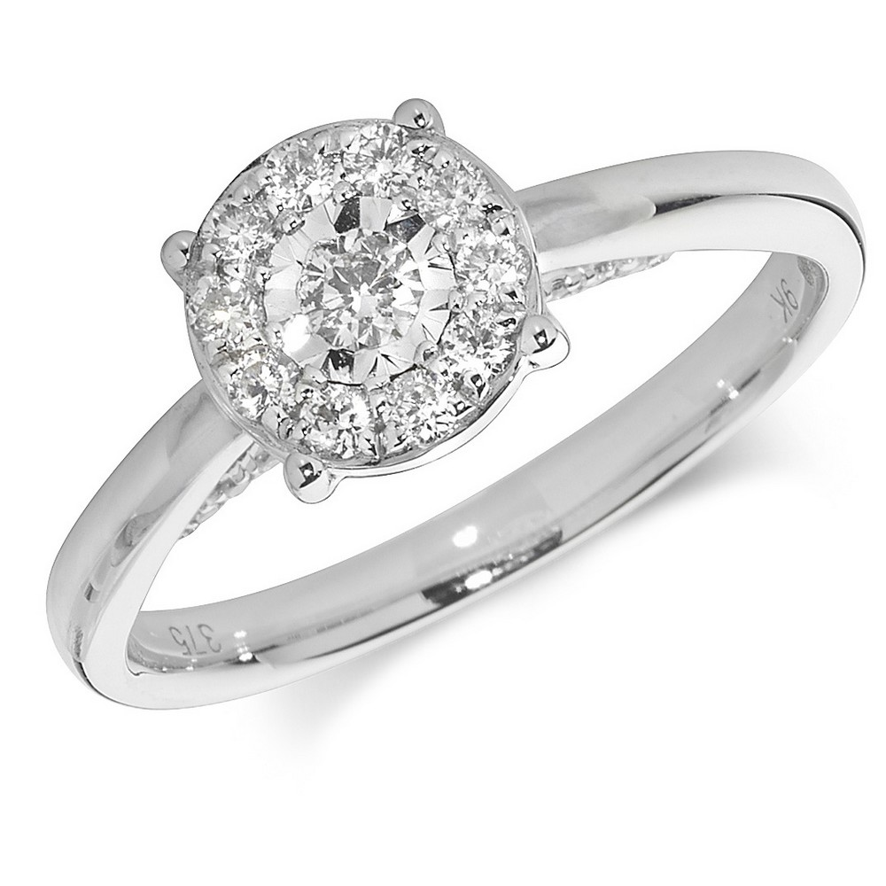 Diamond Cluster Ring in 9ct White Gold (0.31ct)