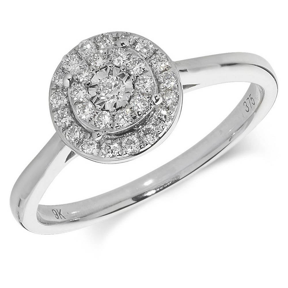 Diamond Cluster Ring in 9ct White Gold (0.24ct)
