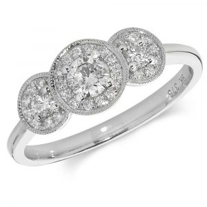 Trilogy Design Cluster Diamond Ring in 9ct White Gold (0.45ct)