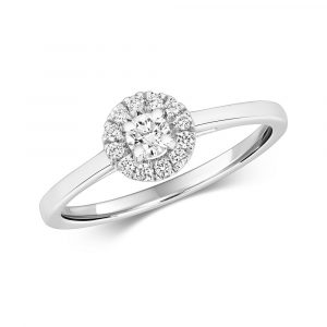 Halo Design Diamond Ring in 9ct White Gold (0.25ct)