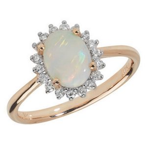 Diamond and Oval Opal Cluster Ring in 9ct Yellow Gold