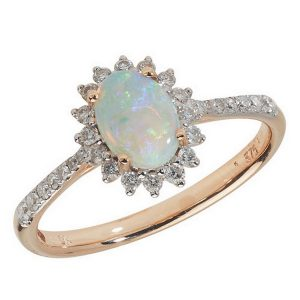 Diamond and Oval Opal Cluster Ring with Diamond Set Shoulders in 9ct Yellow Gold
