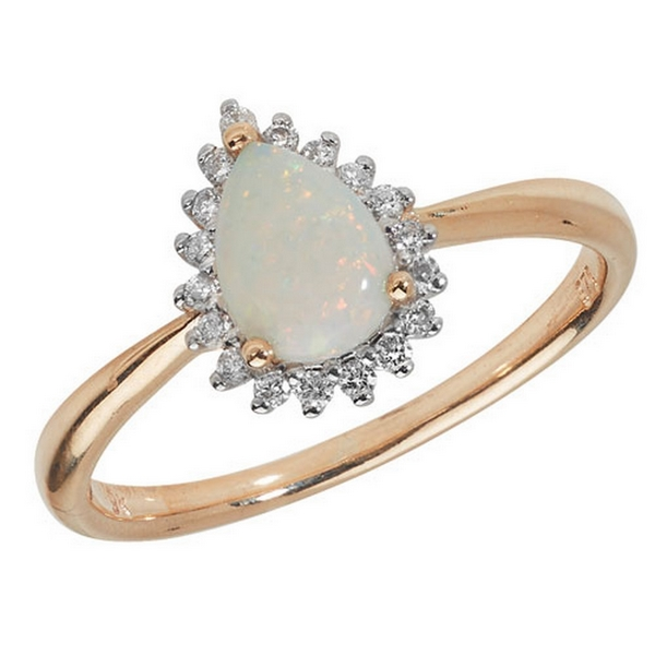 Diamond and Pear Shaped Opal Cluster Ring in 9ct Yellow Gold