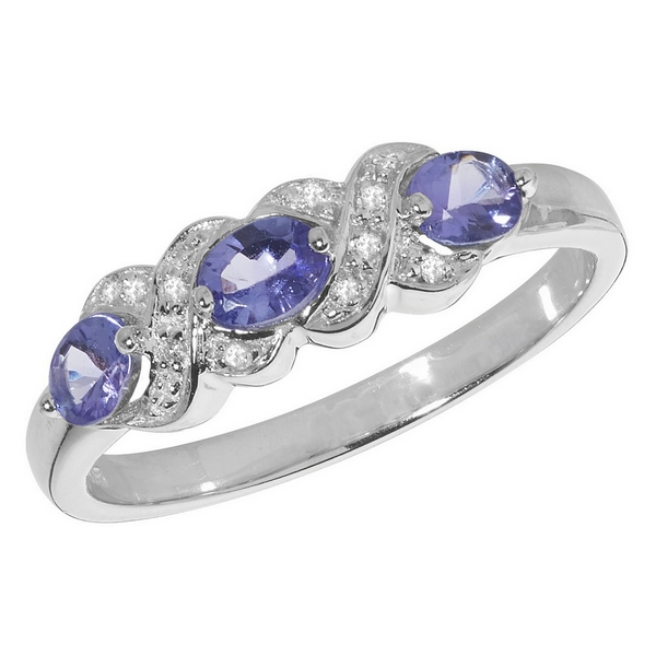 Fancy Set Diamond and Tanzanite Trilogy Ring in 9ct White Gold