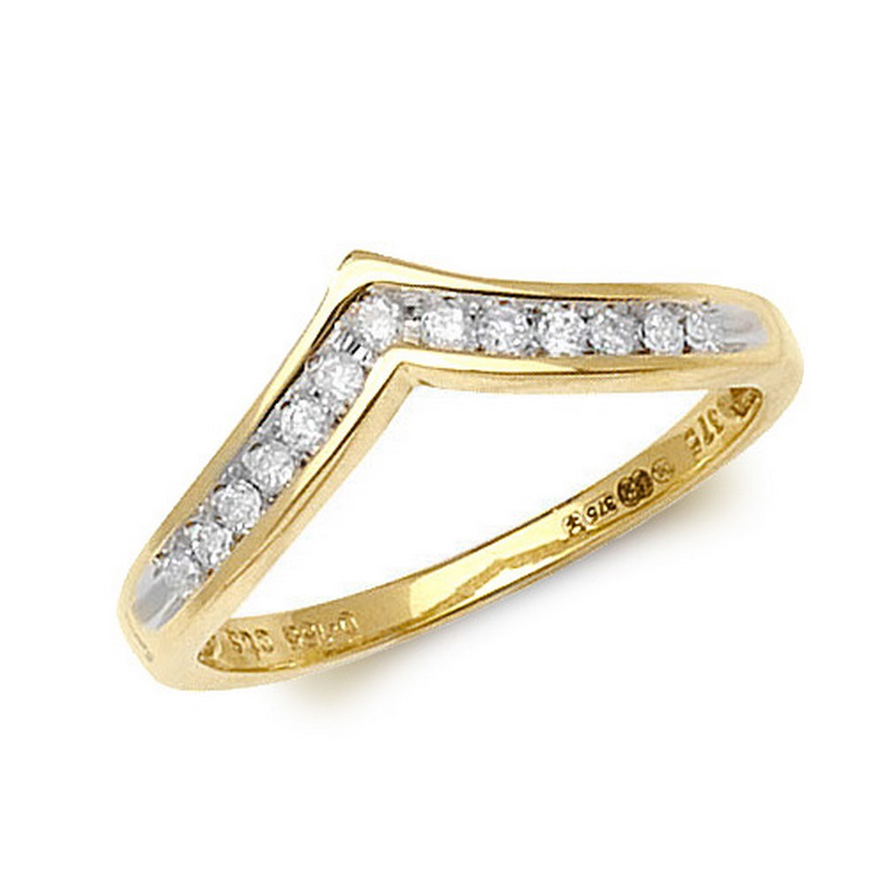 Channel Set Wishbone Style Ladies Diamond Ring in 9ct Yellow Gold (0.15ct)