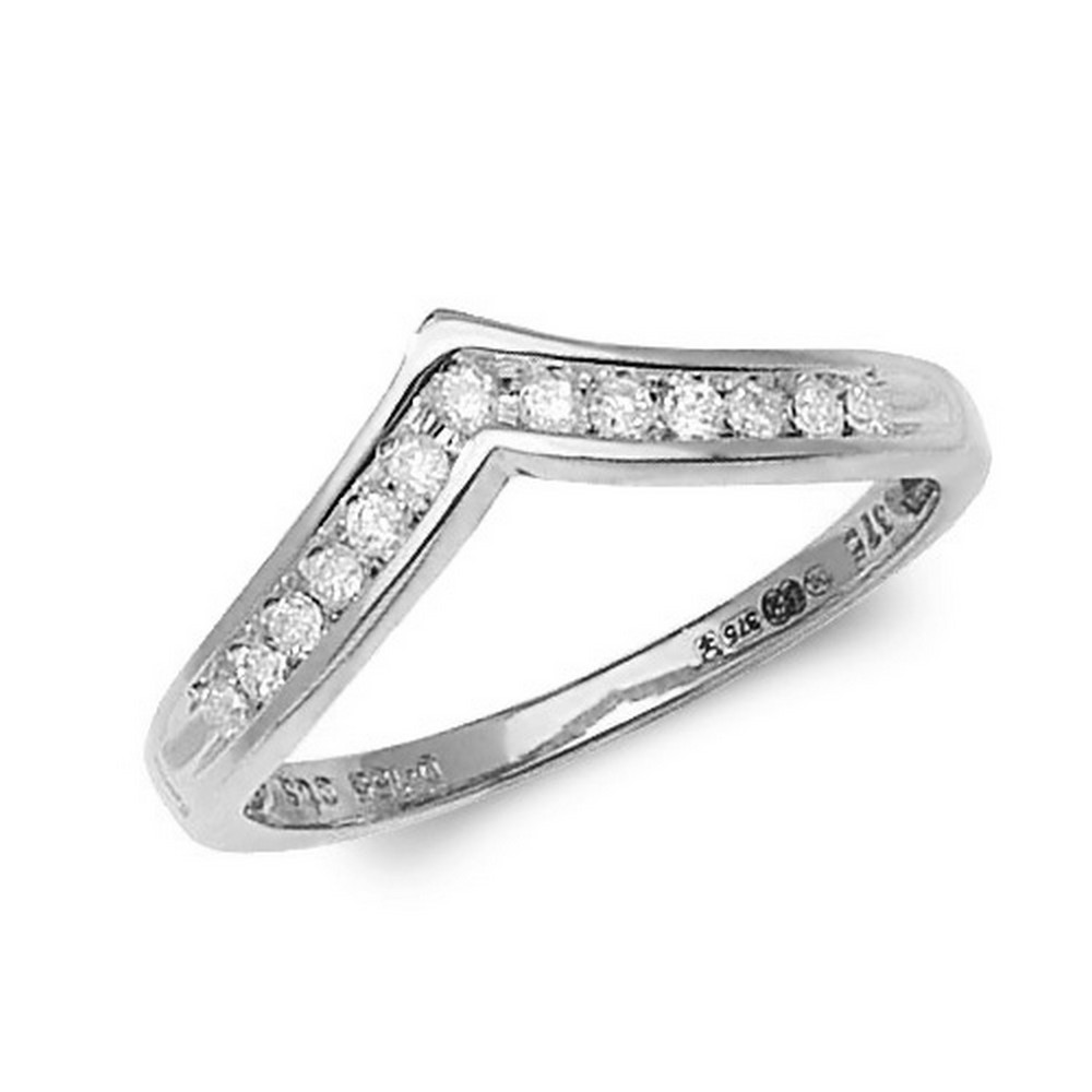 Channel Set Wishbone Style Ladies Diamond Ring in 9ct White Gold (0.15ct)