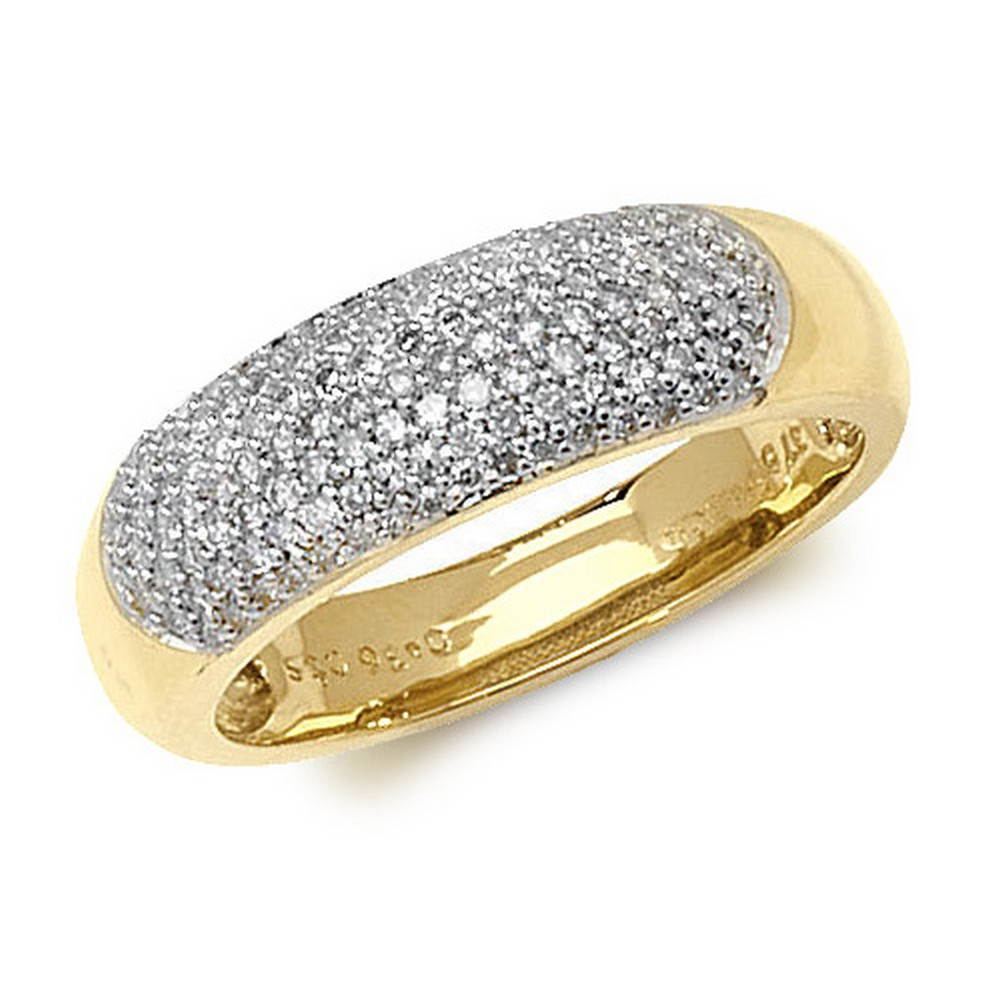 Dome Shaped Pave Set Diamond Ring in 9ct Yellow Gold (0.36ct)